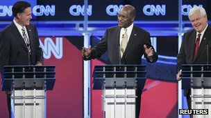 L-R: Mitt Romney, Herman Cain, Newt Gingrich