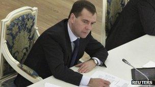 The Russian president, Dmitry Medvedev