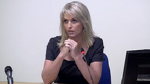 Sheryl Gascoigne giving evidence to the Leveson Inquiry