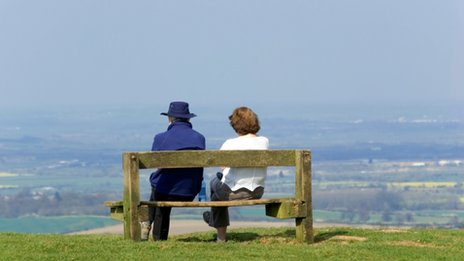 Middle aged couple on bench