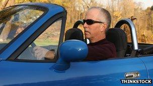 Man in a sports car
