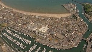 Aerial shot of Weymouth