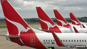 Qantas planes at Melbourne airport
