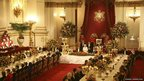 Britain&#039;s Queen Elizabeth makes a speech at a state banquet 