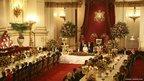 Britain's Queen Elizabeth makes a speech at a state banquet