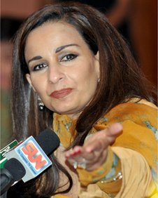 This file photo taken on April 11, 2008 shows then-Pakistani Information Minister Sherry Rehman briefing media representatives at parliament in Islamabad.