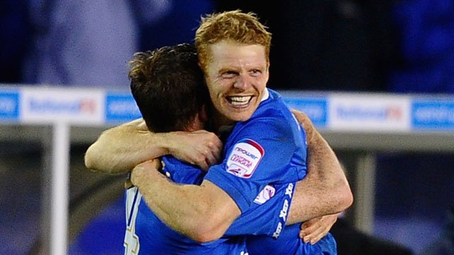 Birmingham's Chris Burke celebrates his injury time winner