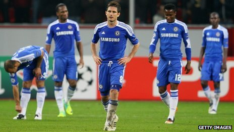 Chelsea players, including Frank Lampard (centre) at the final whistle in Leverkusen