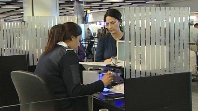 Border agency worker at a border check