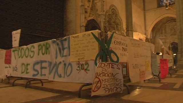 Protest display in Seville church