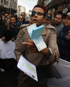 A man dressed as a corrupt politician at a protest in Casablanca, 22 November 2011