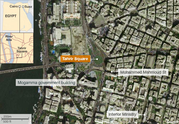 Map showing Tahrir Square and surrounding area