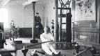 Passengers using the Titanic&#039;s gymnasium