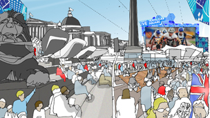 Images of how Trafalgar Square will look during next year's events
