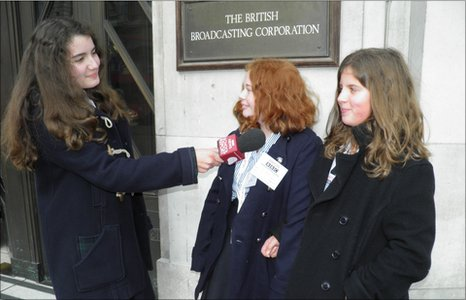 School Reporters Anna, Lucy and Freya outside BBC Broadcasting House