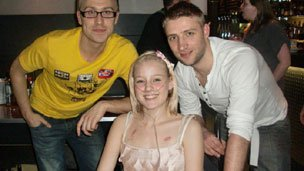 Kirstie with Stuart and comedian Russell Howard
