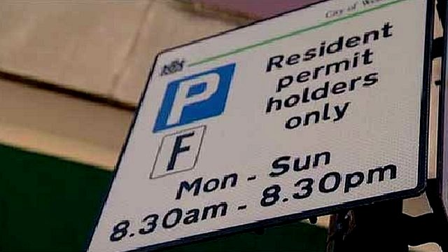 Parking permit sign in London