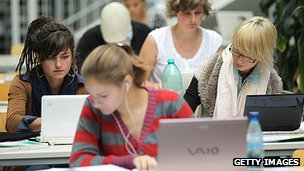 Young people using computers