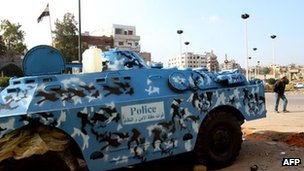 A Syrian police armoured vehicle in Homs. Photo: 24 November 2011