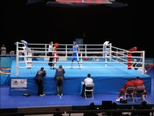 Boxers in action at the Excel Centre