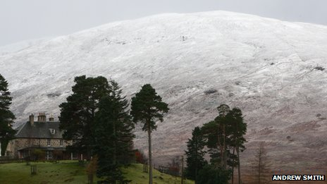 Snow at Laggan in the Highlands. Pic: Andrew Smith