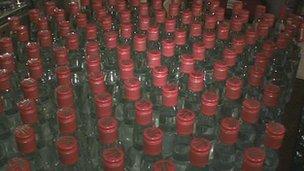 Fake bottles of vodka