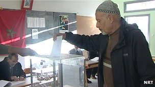 Man votes in Rabat, Morocco