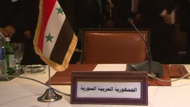 Syrian seat at the Arab League stands empty