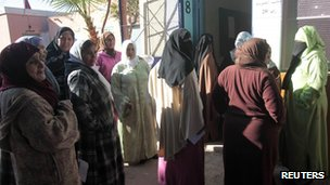 Women queue outside a polling station in Marrakech
