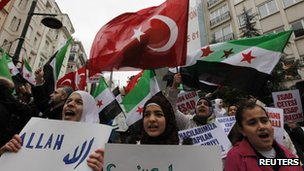 Syrians living in Turkey protest in Istanbul