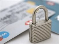 bank cards and padlock