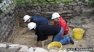 Small excavation being carried out at the Nunnery in Alderney in 2011