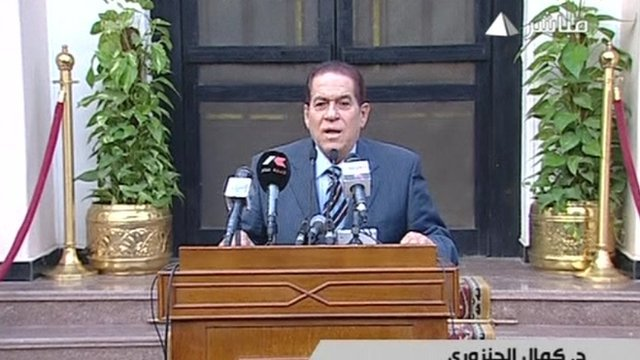 Nominee Egyptian prime minister Kamal Ganzouri has addresses the nation.
