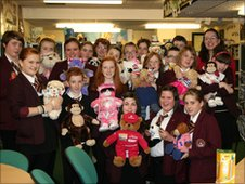 Taylor High School pupils with their bears