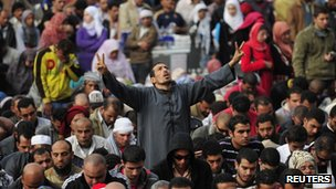 Egyptian protesters chant slogans in Tahrir Square in Cairo November 25, 2011
