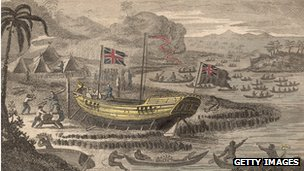 Picture of Captain Henry Wilson's boat shipwrecked on one of the islands