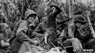 US Marine Corps attack a Japanese jungle position in Peleliu, Palau