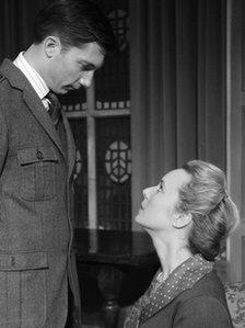 Marcel Bruneau (Trotter) and Georgina Sutcliffe (Mollie Ralston) in a scene from The Mousetrap