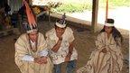 Meeting of three Huachipaire community members in Peru