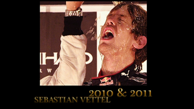 Sebastian Vettel celebrates winning the 2011 drivers' title