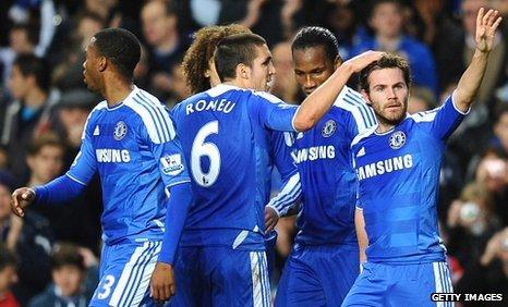 Juan Mata and Chelsea celebrate