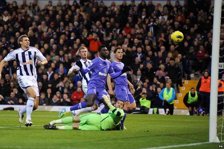 Emmanuel Adebayor scores for Tottenham