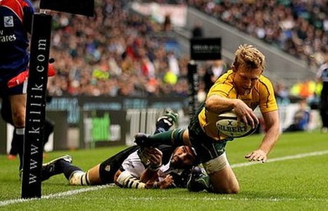 Australia's Lachie Turner scores the Wallabies' second try