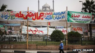 Election banners on roundabout near the Citadel in Cairo, Egypt, on 26 November 201