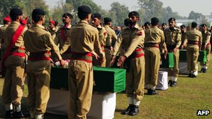 Funerals of 24 soldiers in Peshawar, Pakistan, on 27 November 2011
