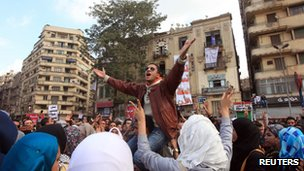 A protester shouts slogans during a demonstration against the Egyptian military council in Tahrir square