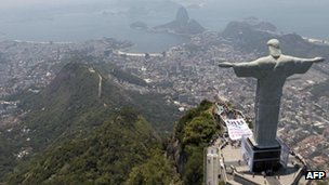 The statue of Christ the Redeemer standing over Rio de Janeiro