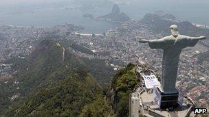 The statue of Christ the Redeemer standing over Rio de Janeiro