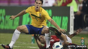 Anderson Lima of Brazil in action against Egypt in a friendly match in November 2011