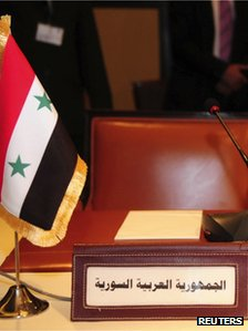 Syria's empty chair at the Arab League meeting in Cairo (24 November 2011)